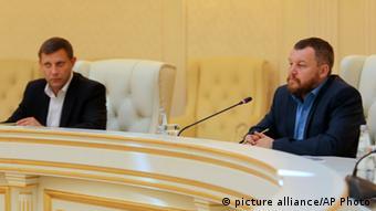 Ukraine Gespräche in Minsk 05.09.2014 Alexander Zakharchenko und Andrei Purgin