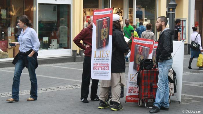 Salafists giving out free Qurans in the streets of Bonn, Germany in 2014