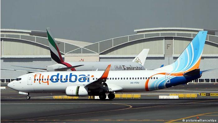 FlyDubai plane landing at Dubai International