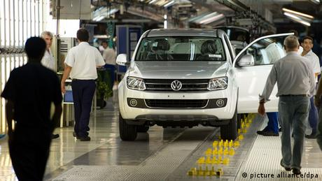 Workers at a VW factory in Buenos Aires, Argentina.