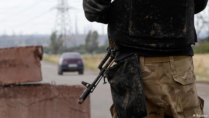 Украинский солдат на КПП