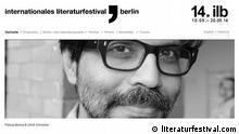 Internationales Literaturfestival Berlin Quelle: http://www.literaturfestival.com/ ***Screenshot darf nur in Zusammenhang mit einer Berichterstattung über das Internationale Literaturfestival Berlin verwendet werden***