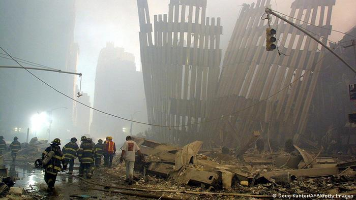Rubble at the World Trade Center on September 11, 2001 (Doug Kanter/AFP/Getty Images)