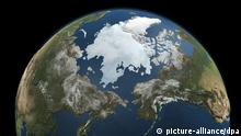 ARCHIV - Die Die Nasa-Illustration vom 03.09.2010, die aus mehreren Bildern des Aqua Satelliten generiert wurde zeigt die Eisausdehnung in der Arktis. Der Potsdamer Klimaforscher Hans Joachim Schellnhuber hält langfristig eine Erderwärmung um bis zu sechs Grad für möglich, sollte sich bis 2020 nichts Entscheidendes beim Klimaschutz tun. Zum 2. Petersberger Klimadialog sind am Sonntagmorgen (03.07.2011) Vertreter von rund 35 Staaten in Berlin zusammengekommen. Foto: NASA Goddard's Scientific Visualization Studio dpa (zu dpa 0265 am 03.07.2011) +++(c) dpa - Bildfunk+++
