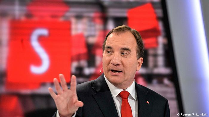Swedish Prime Minister Stefan Lofven answers questions