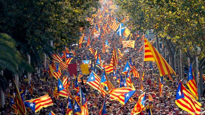 Демонстрация за независимость Каталонии 11 сентября 2014 года в Барселоне