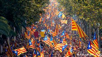 Демонстрация в Барселоне в поддержку независимости Каталонии