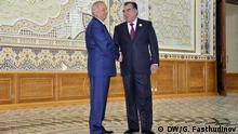 Islam Karimov mit Imomali beim Gipfel der Schanghai-Organisation in Duschanbe