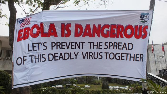 A poster saying 'Ebola is dangerous, let's prevent the spread of this deadly virus together'