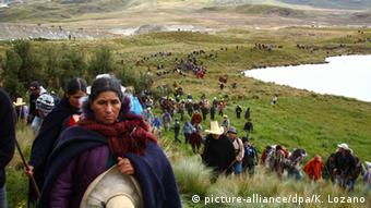 Protest gegen die Conga Mine in Cajamarca, Peru 2012