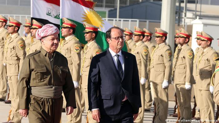 Frankreichs Präsident Hollande mit kurdischem Anführer Barzani in Erbil