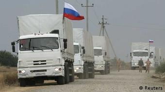 российский конвой с гуманитарной помощью направляется в Донбасс