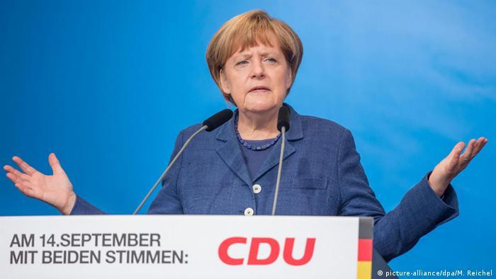 Angela Merkel speaks in Apolda on September 14