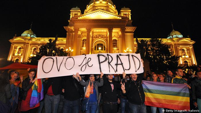 A protest march in Serbia