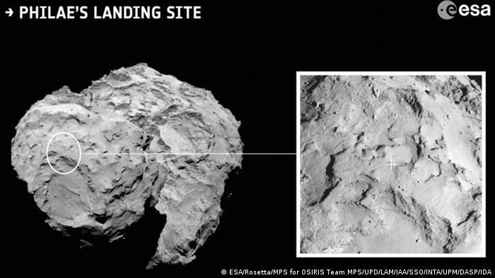 ESA Landeplätze auf Komet (Foto: ESA/Rosetta/MPS - for OSIRIS Team MPS/UPD/LAM/IAA/SSO/INTA/UPM/DASP/IDA)