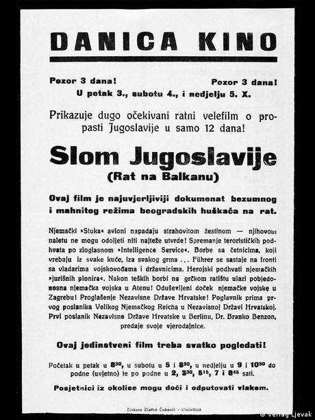 Plakat zum Film Zusammenbruch Jugoslawiens Kroatien 1941