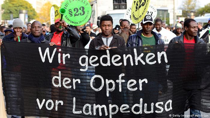 Manifestación de refugiados en Hamburgo honrando la memoria de los muertos en el Mar Mediterráneo.