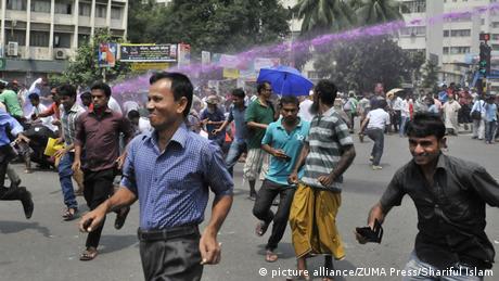 Bangladesch Dhaka Gericht Kriegsverbrechen Delwar Hossain Sayeedi Protest gegen Urteil (picture alliance/ZUMA Press/Shariful Islam)