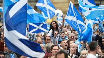 Proponents of Scottish independence wave Scottish flags