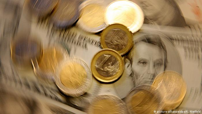 A generic picture of dollar notes and euro coins
