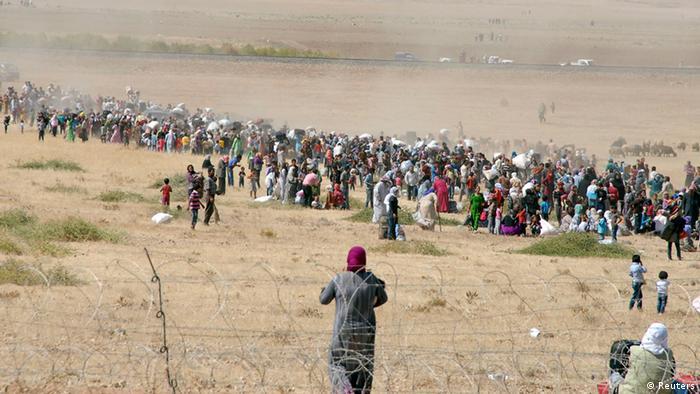 Syrische Flüchtlinge an der Grenze zur Türkei bei Suruc 19.09.2014