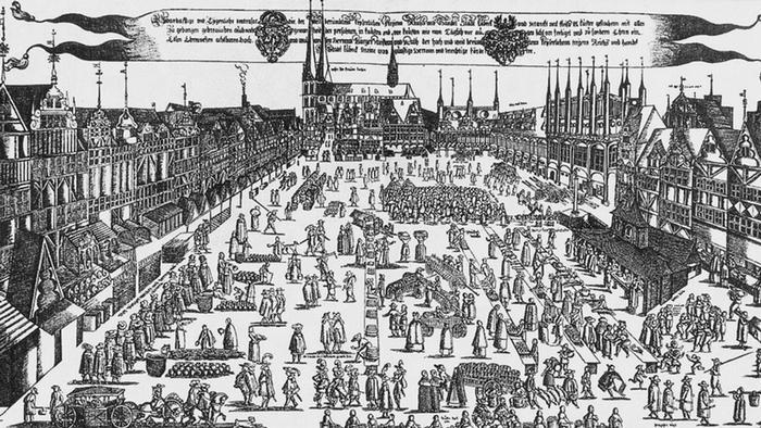 Рыночная площадь и Мариенкирхе в Любеке на рисунке 1580 года
