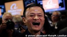 Jack Ma, founder of Alibaba, smiles during the company's IPO at the New York Stock Exchange, Friday, Sept. 19, 2014 in New York. The stock is expected to start trading Friday under the ticker BABA. The IPO values Alibaba at $167.62 billion, larger than the current market value of Amazon, Cisco, and eBay. (AP Photo/Mark Lennihan)