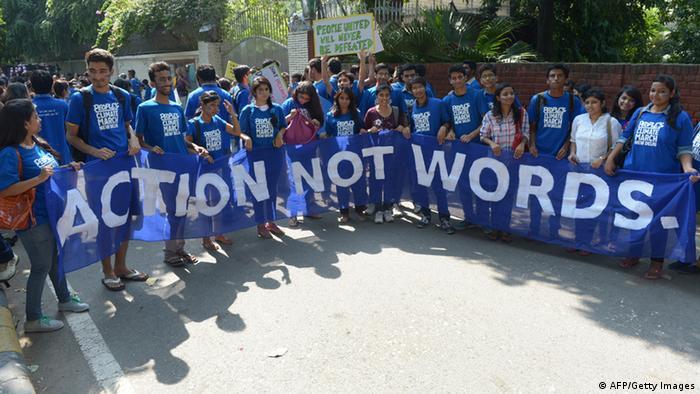 Proteste in Indien vor dem UN-Klimagipfel am 23.09.2014