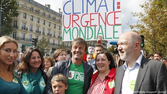 Hulot and his wife at a climate change demonstration in Paris in 2014