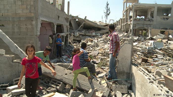 Zerstörtes Haus der Familie Shinbari in Beit Hanoun (Foto: DW)