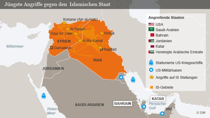 Infografik Karte Angriffe gegen den Islamischen Staat (IS) Deutsch