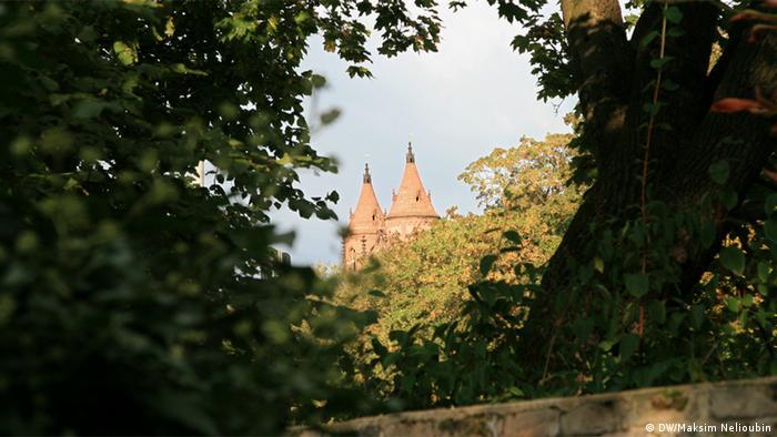 Вид на башни Вормсского собора с территории Святого песка