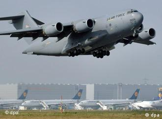 US air force plane taking off in Frankfurt