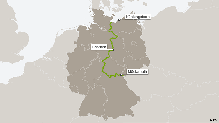 Karte Grünes Band Geteiltes Deutschland mit Kühlungsborn, Brocken, Mödlareuth DEU