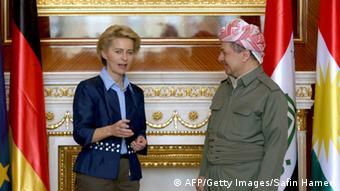 Ursula von der Leyen with Massud Barzani (photo: SAFIN HAMED/AFP/Getty Images)