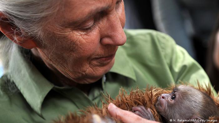 Chile Großbritannien Affenforscherin Jane Goodall mit Affe (H. Retamal/AFP/Getty Images)