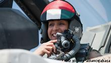 File photo dated June 2013 of United Arab Emirate's first female air force pilot, Major Mariam Al Mansouri, in Abu Dhabi, United Arab Emirates. Al Mansouri, on board an F16 fighter was one of several from a group of Arab nations that were blitzing ISIS (or Daesh or Islamic State) positions in Syria. Photo by Balkis Press/ABACAPRESS.COM