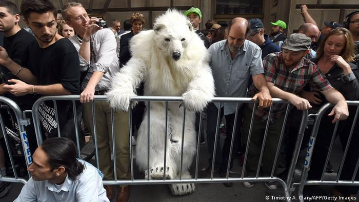 Frostpaw the polar bear at Flood Wall Street protest (Photo: TIMOTHY A. CLARY/AFP/Getty Images)