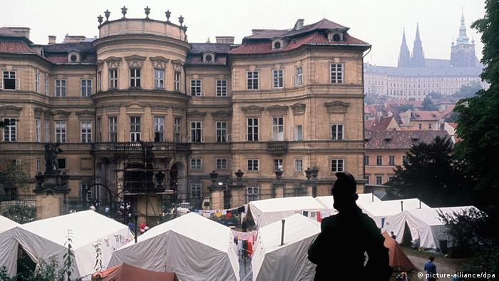 Tents outside the embassy in Prague