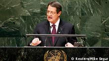 Cyprus President Nicos Anastasiades addresses the 69th United Nations General Assembly at U.N. Headquarters in New York, September 26, 2014. REUTERS/Mike Segar (UNITED STATES - Tags: POLITICS)