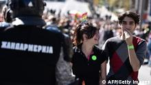 Gay activists gather for the Pride Parade in Belgrade on September 28, 2014. Serbian gays and lesbians staged their first Belgrade Pride Parade in four years on Sunday, in what is seen as a test of the EU hopeful's commitment to protecting minority rights. With tight security, the march went off without incident, led off from the main government building, with hundreds of participants carrying rainbow-colored balloons and flags, and banners proclaiming Pride, Peace and Love. AFP PHOTO / ANDREJ ISAKOVIC (Photo credit should read ANDREJ ISAKOVIC/AFP/Getty Images)