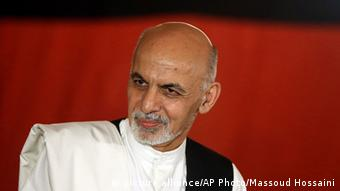 In this file Wednesday, Sept. 10, 2014 photo, Afghan presidential candidate Ashraf Ghani Ahmadzai speaks during a news conference at his resident in Kabul, Afghanistan. Ghani Ahmadzai was sworn in Monday, Sept. 29, 2014 as Afghanistan's new president, replacing Hamid Karzai in the country's first democratic transfer of power since the 2001 U.S.-led invasion toppled the Taliban.