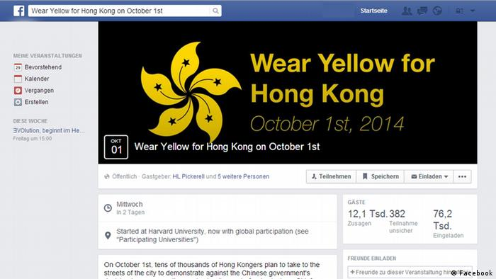 Facebook wear yellow for hong kong Screenshot