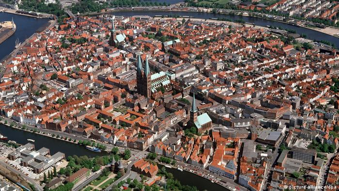 Aerial view of the city of Lübeck