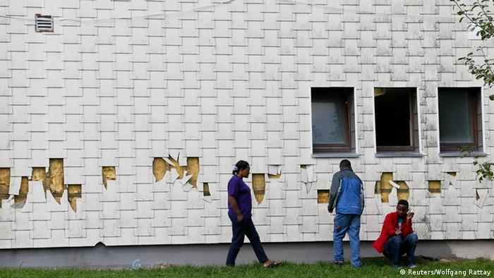 Walls of refugee center in Burbach damaged