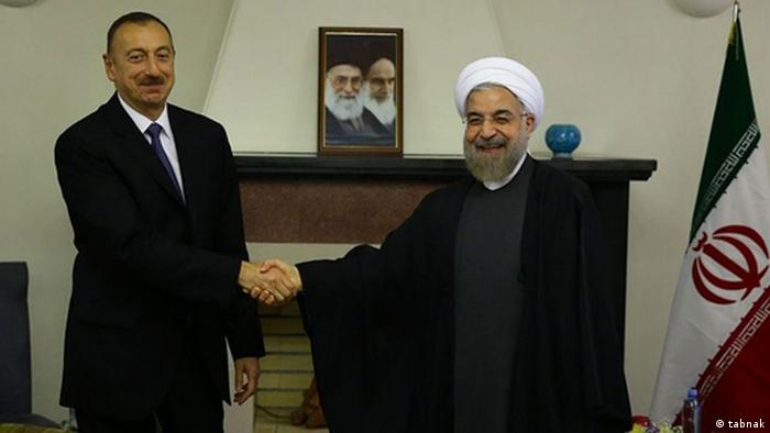ملاقات حسن روحانی و الهام علیاف، رئیسجمهور آذربایجان در حاشیه اجلاس آستراخان در ۲۹ سپتامبر ۲۰۱۴