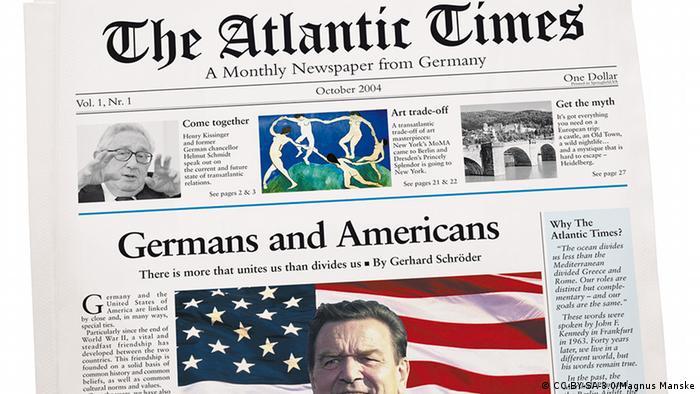Deutschland USA Presse Titelseite von Atlantic Times