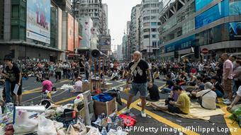 Hong Kong Anti Regierung Protest Demokratie Straßenblockade 30.9.