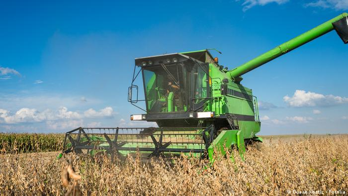 Harvesting of soy bean field with combine © Dusan Kostic - Fotolia