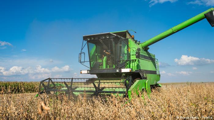 Máquina agrícola em meio a plantação